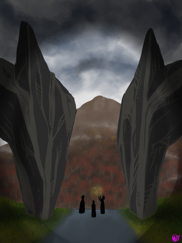 "digital painting of ""Dark Stones at Center with Spectators on Mountain"""
