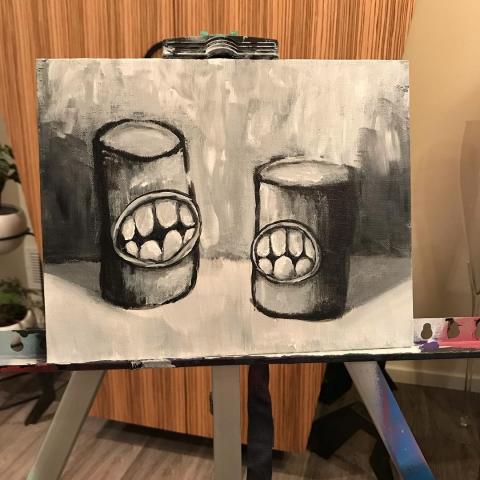 Acrylic painting of Small Cylinders with Teeth