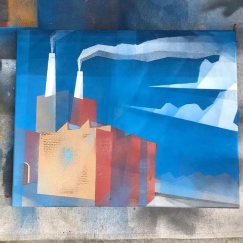 Spray paint painting o the Zuni Generating Station in Summer