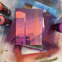 Spray paint on canvas painting of a factory
