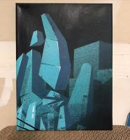 Spray paint painting of abstract architectural forms
