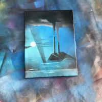 Spray paint on canvas painting of a submerged factory