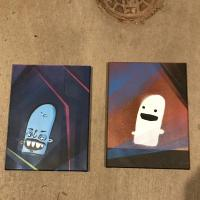 Two small canvas paintings of a man and his ghost