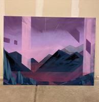 Spray paint painting of the Pecos river valley in north central New Mexico