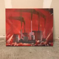 Spray paint on canvas painting of an oil refinery