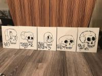 Picture of 5 paintings of skulls