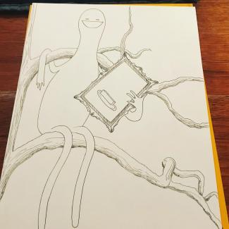 In progress drawing of figure in tree holding portrait of butter