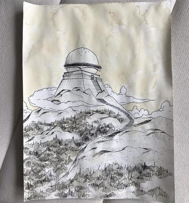 "Ink and tea drawing of ""Burger with Large Tomb"""