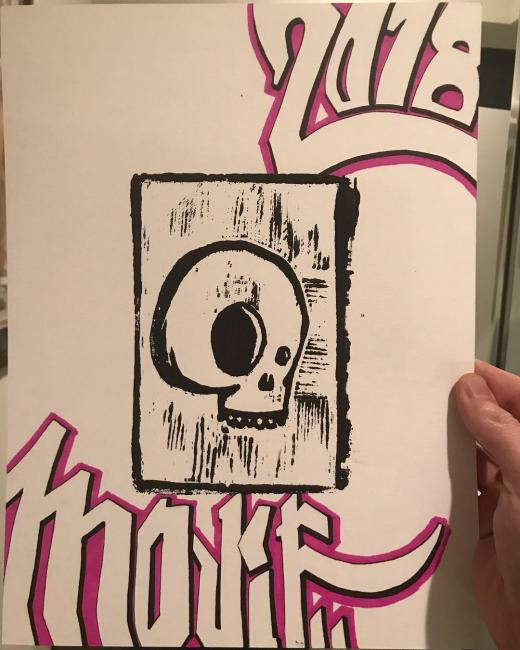 Skull block print with Mojif graffiti