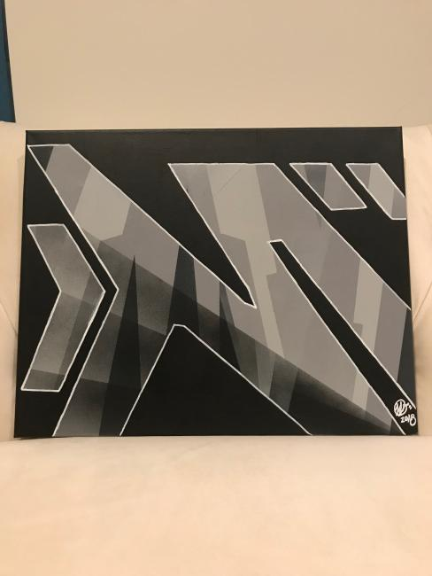 M painting in grey