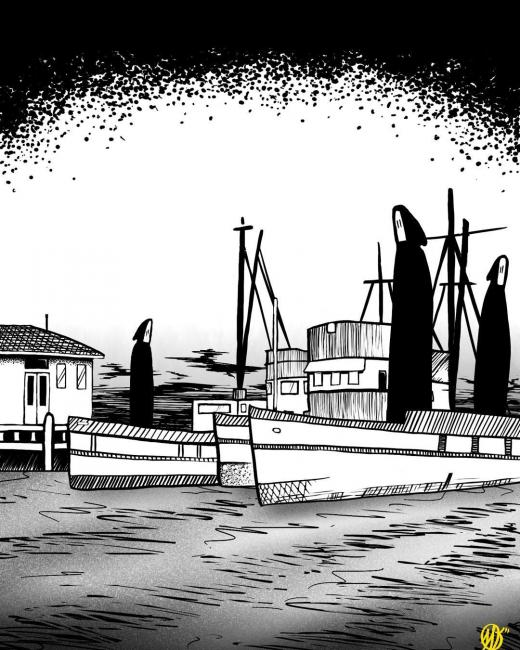 Shadow figures in boats around wharf digital drawing